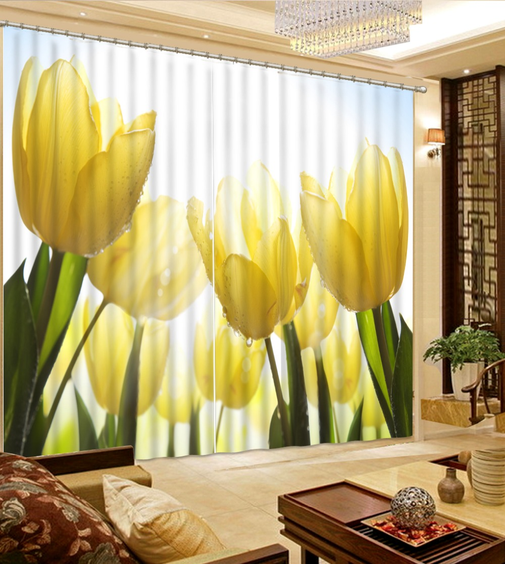 3d Curtains For Living Custom 3D Beautiful fashion decor home decoration for bedroom yellow flower lily 3d Curtains in Curtains from Home Garden