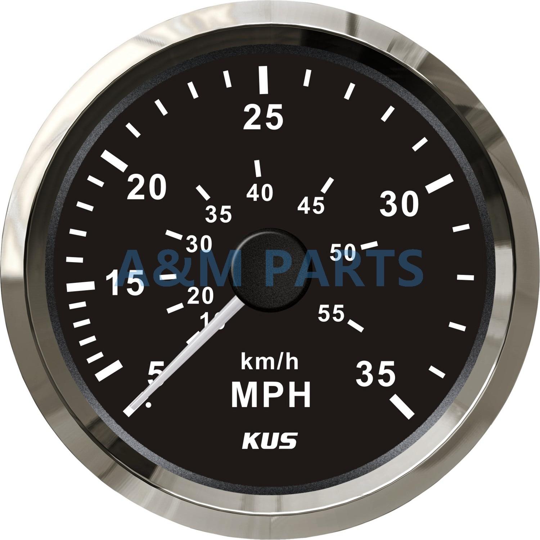 KUS Boat Speedometer Gauge Marine Speedometer Pitot Tube 12V/24V 0-35MPH 85mm цена