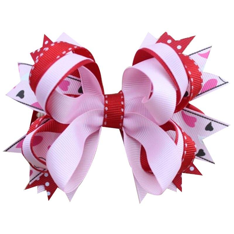 Adogirl 5 шт. 5 дюймов Большой сложены бутик волосы луки Заколки для волос красный розовый горошек Луки Шпилька для девочки милые дети волос аксе...