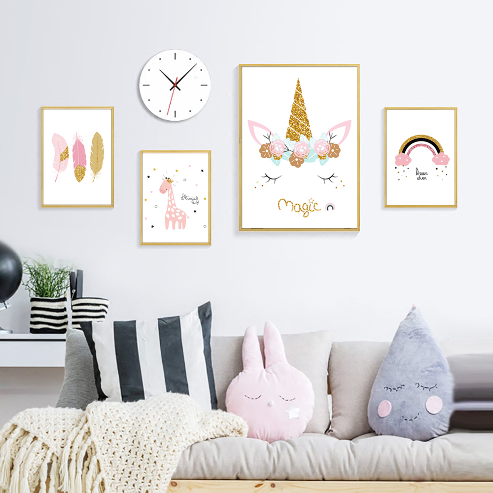 Flower Watercolor Painting Animals Unicorn Canvas Nordic Posters And Prints Nursery Giraffe Poster Feather Unframed