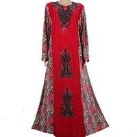 Muslim Kaftan Abaya Islamic Clothes For Women Luxury Beads Design Dubai Kaftan Red MT542