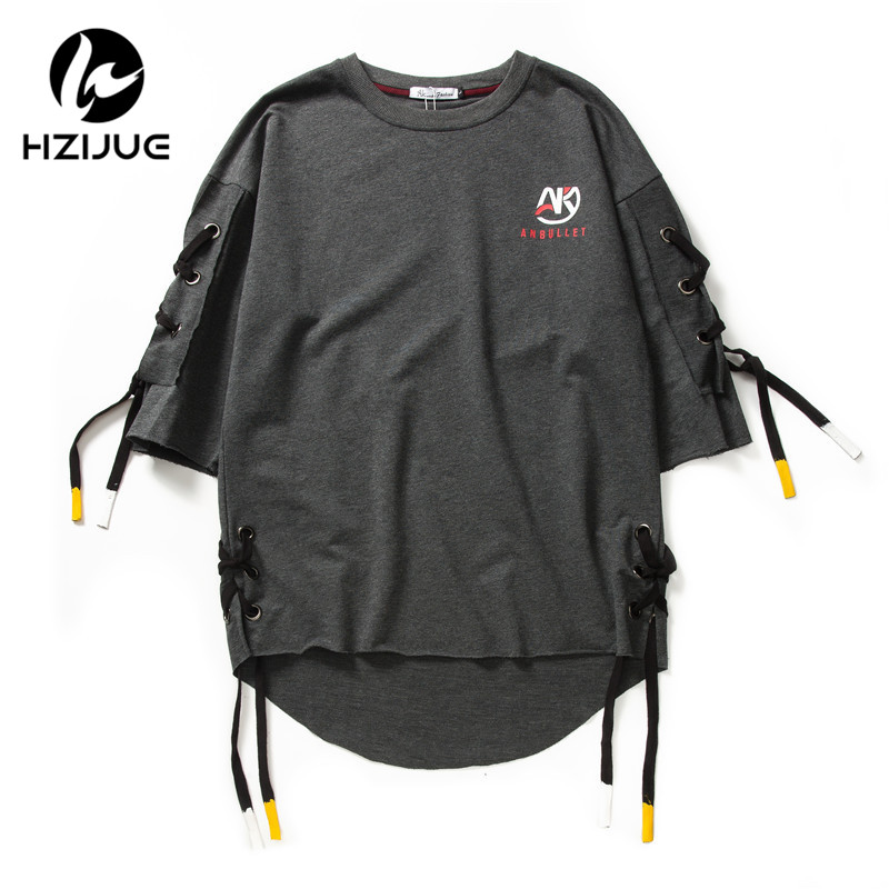 HZIJUE New arrival men fashion short sleeve side bandage   t     shirt   boys hip hop tee   shirts   Loose street wear swag male clothes