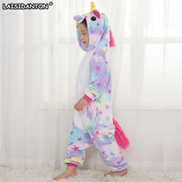 LAISIDANTON Children Kids Rainbow Star Unicorn Pajamas Winter Pyjamas Flannel Hooded Pijama Sets Animal Sleepwear For