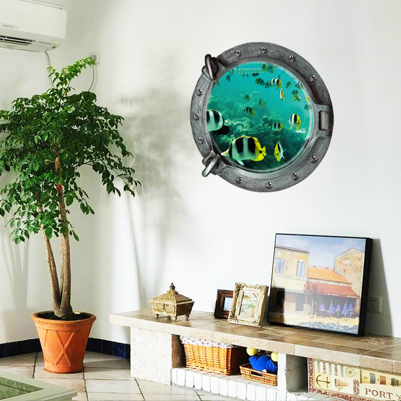 Aquarium 3D Underwater Sea World Fish Wall Sticker Bathroom Decals Sea Wall  Art For Kids Rooms DIY Home Decoration In Wall Stickers From Home U0026 Garden  On ...
