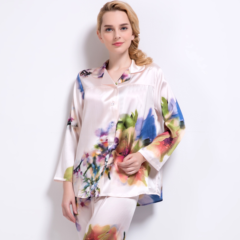 Silk sleepwear women's autumn spring silk loose elastic satin long-sleeve set lounge
