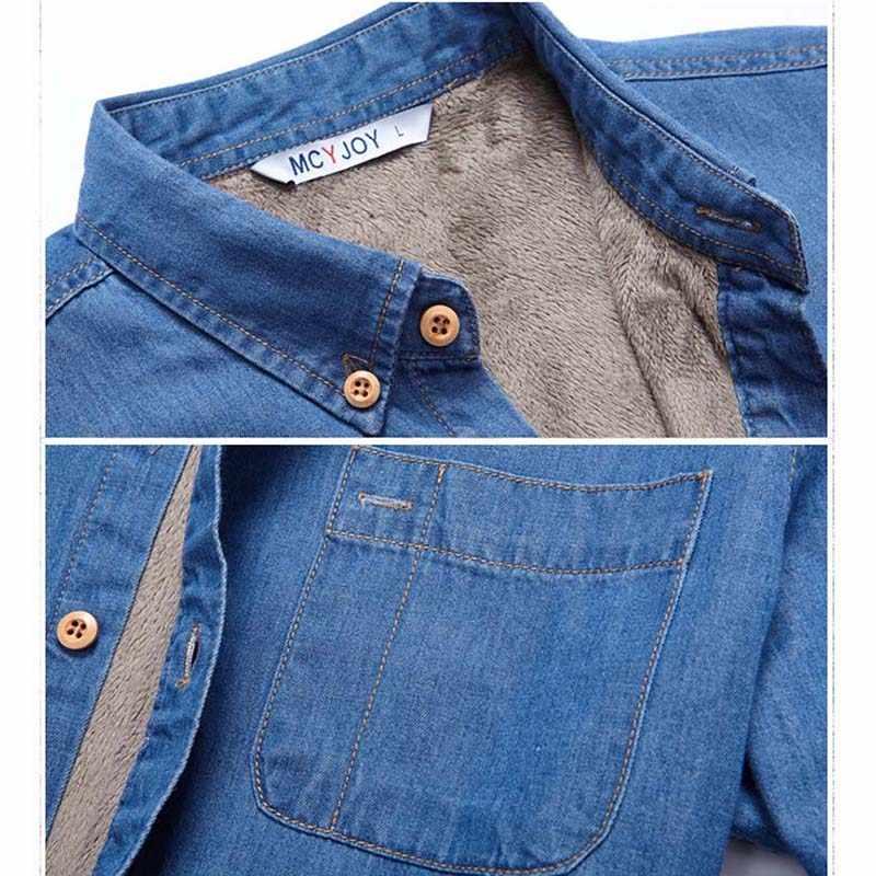 En kaliteli moda marka kış kot gömlek erkekler sıcak polar astarlı kadife denim gömlek 4XL erkek dip gömlek