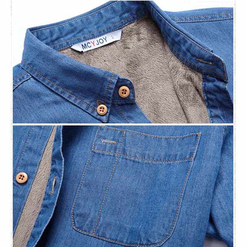 1cb34bea264 ... Top Quality Fashion Brand Winter Jeans Shirt Men Warm Fleece Lined  Velvet Denim Shirts 4XL Male ...