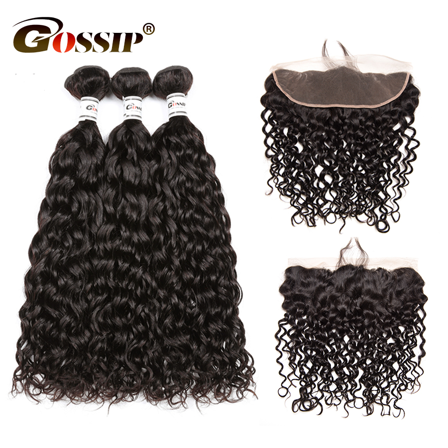 Gossip Water Wave Human Hair 3 Bundles With Closure Pre Plucked Lace Frontal Closure Brazilian Hair Weave Bundles With Non Remy