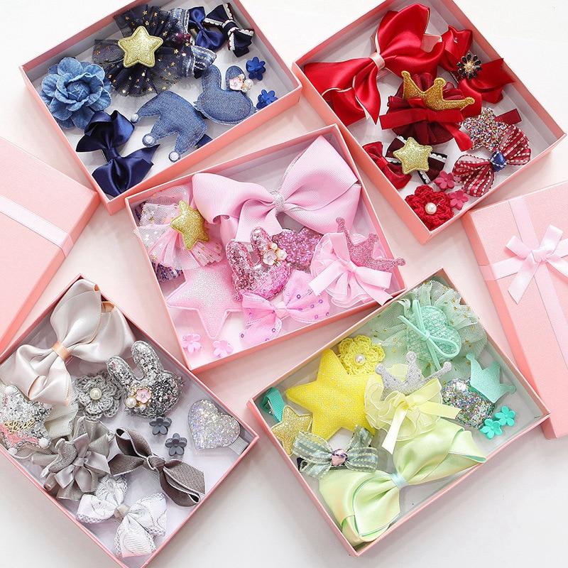 10pcs/set Kids Gift Bows Hair Clips For Girls Hair Accessories Lovely Hairpins Headwear Princess Crown Flower Barrettes