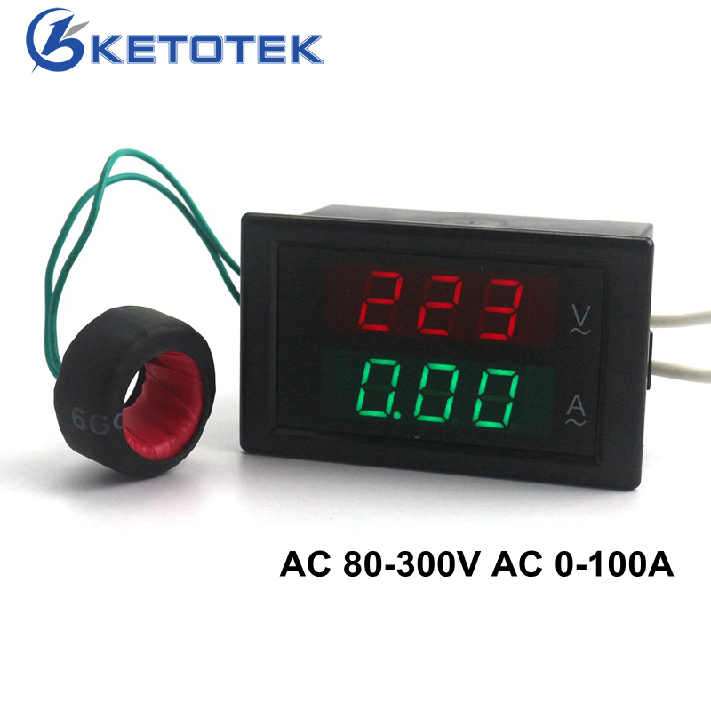 Digital AC Voltmeter Ammeter Ampermeter AC 80-300V 0-100A Led Volt Amp Meter Voltage Current Meter Ampere Panel Meter