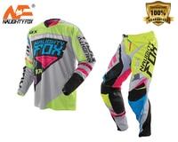 NAUGHTY Fox 360 MX Gear Set Motocross ATV Dirt Bike Off Road Race Gear Pant & Jersey Combo Green/Grey