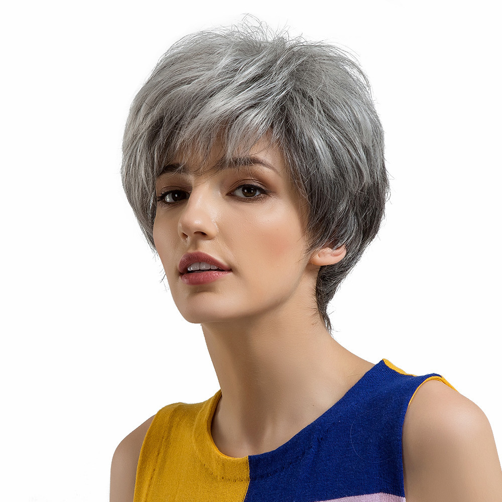 New Natural Women Short Gray Black Hair Wigs Slight Fluffy Human Hair Female Wigs full head 0910 7a cheap glueless full lace wigs with baby hair virgin malaysian hair wigs body wave full lace human hair wigs for black women