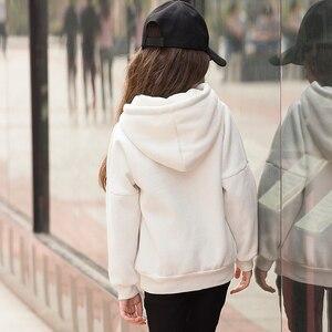 Image 2 - Teenager Mädchen Hoodies Winter Candy Farbe Sweatshirt Pullover Mit Fleece Mit Kapuze Kid Kleidung 6 7 8 9 10 11 12 13 14 15 16 jahre Alt
