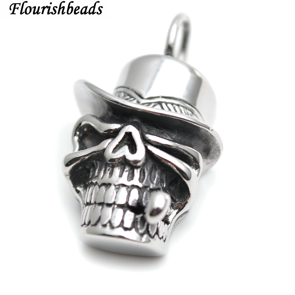 Fashion Men Stainless Steel Pendant Necklace Chain Skull Clown Jewelry 2019 Hot Selling