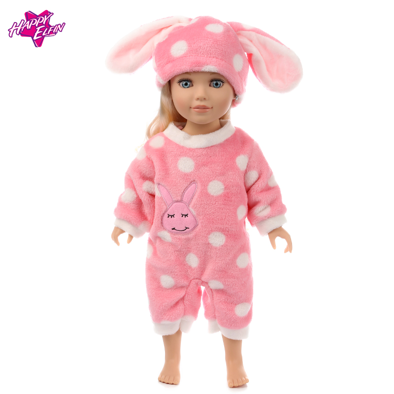 Doll Clothes Fit 18inch/45cm American Girl Doll Jumpsuit Suit with cute rabbit hat doll clothes Children doll Birthday Gifts [mmmaww] christmas costume clothes for 18 45cm american girl doll santa sets with hat for alexander doll baby girl gift toy
