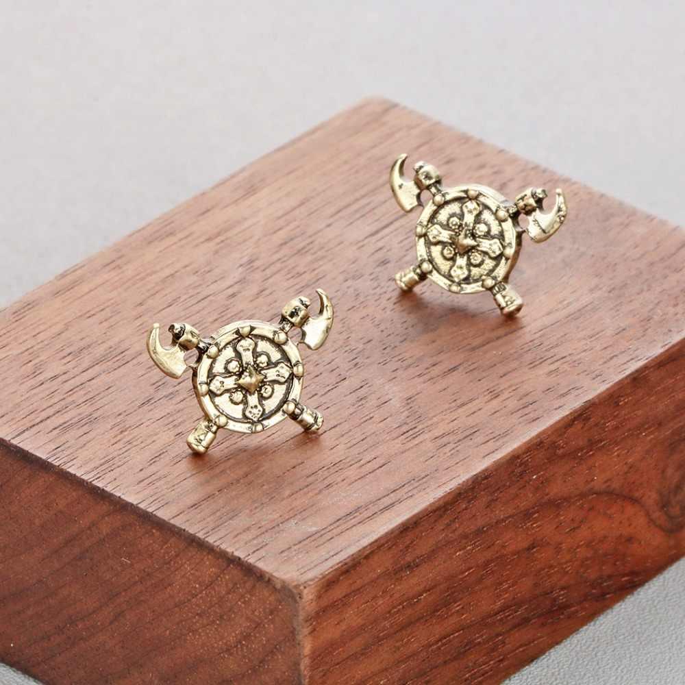 QIMING новый топор сережки-крестики мужской славянский ювелирный символ коловрата модный дизайн топоры серебряные женские серьги в стиле «стимпанк» подарок