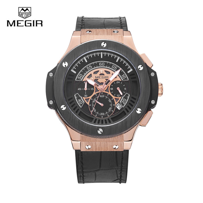 Megir Men Quartz Watch Leather Strap Wristwatches Waterproof Sport Men s Watchs Top Brand Luxury