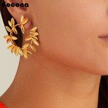 Docona Luxury Gold Silver Leaf Leaves Flower Stud Earrings for Women Vintage Geometric Plant Metal Wedding Jewelry Brincos 5851