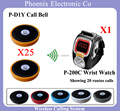 Wireless Restaurant Paging System Wireless  Call Button Guest Calling,25PCS Bells D1 & 1 pcs Wrist Watch P-200C Free Shipping