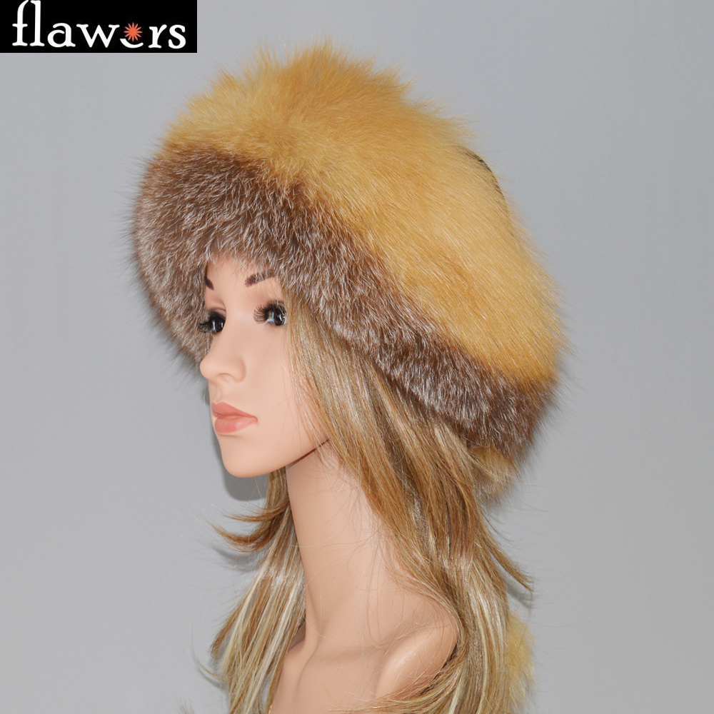 0cb0bb4656d Detail Feedback Questions about DIY Women Russia Winter Real Fox Fur Hat  Warm Soft Fluffy Genuine Fox Fur Cap Luxurious Lady Good Quality Real  Leather ...