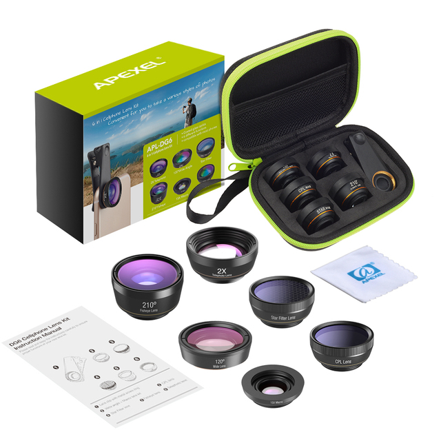 APEXEL 6 in 1 Phone Camera Lens Fisheye Lens Wide Angle macro Lens CPL Star Filter 2X telescope for Samsung Huawei all phones 5