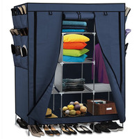 69 Inch Portable Closet Organizer Large Space Clothes Wardrobe Steel Tube Rack With Shelves Clothing Storage