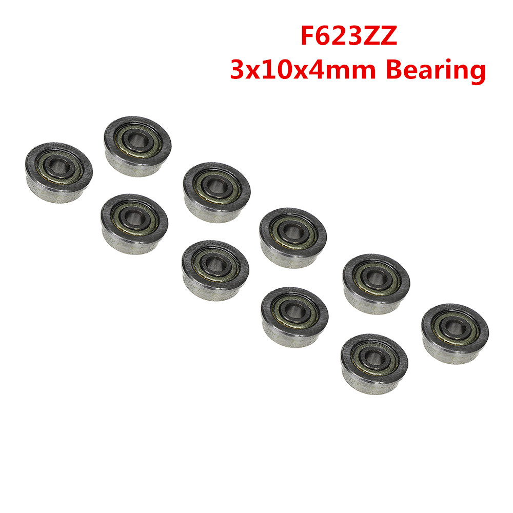 F623ZZ 3mm*10mm*4mm F623 ZZ Miniature Flange Deep Groove Ball Radial Ball Bearing 3x10x4mm 10pcs/lot 5pcs lot f6002zz f6002 zz 15x32x9mm metal shielded flange deep groove ball bearing