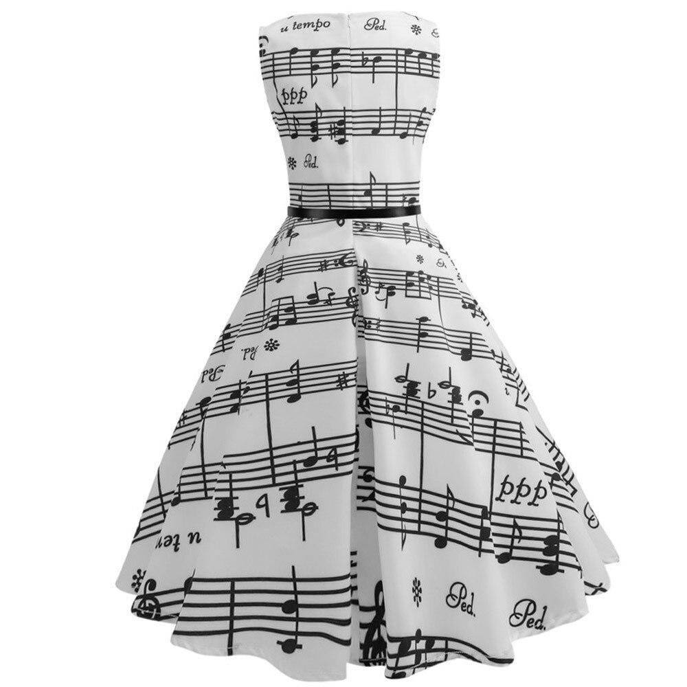 MUQGEW summer dress Women Vintage Printing Sleeveless Casual Evening Party Prom Swing Dress Vestido de noite