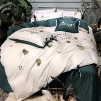 White Green Simple Style Pineapple Embroidery 60S Egypt Cotton Bedding Set Duvet cover Bed Sheet Pillowcases Queen King size