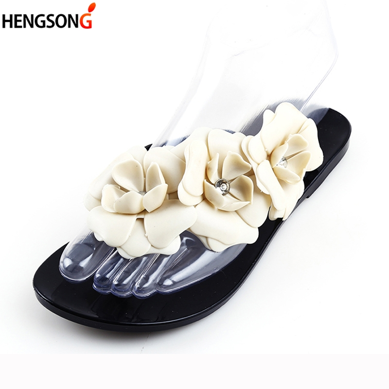 Women Summer Slippers Candy Color Female Fashion Flip Flop Flats Shoes With Beautiful Camellia Flower Sweet Beach Sandals women jelly shoes candy sandals luxury brand summer beach flats bowknot shoes casual lady fashional envirionmental shoes female