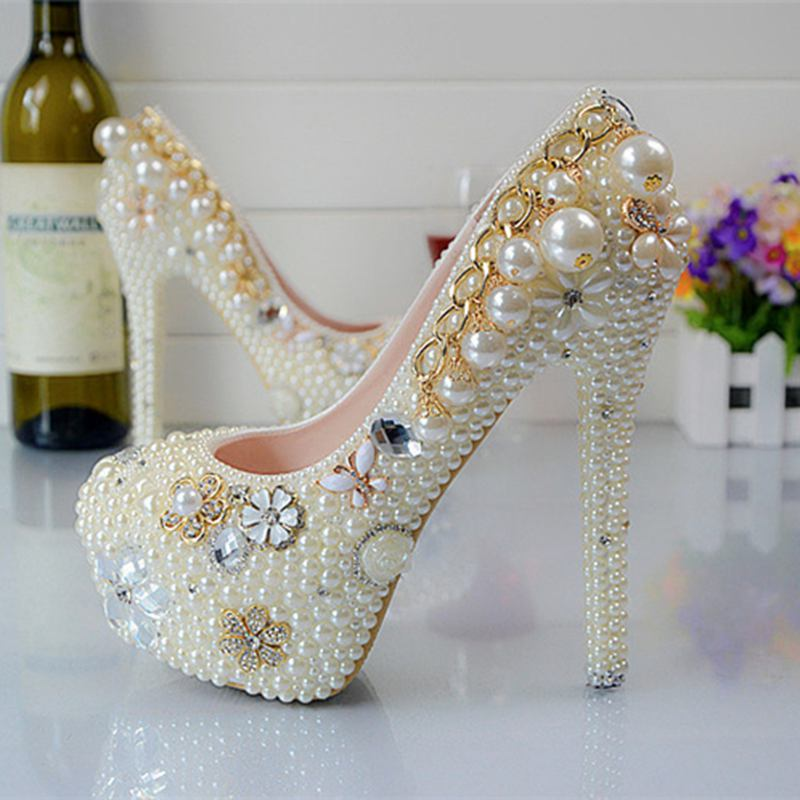 цена на White Pearl  Curtain Rhinestone Wedding Shoes Party Shoes  Bridal Shoes  Spring Autumn Pumps Big Size Eu34-43  M001