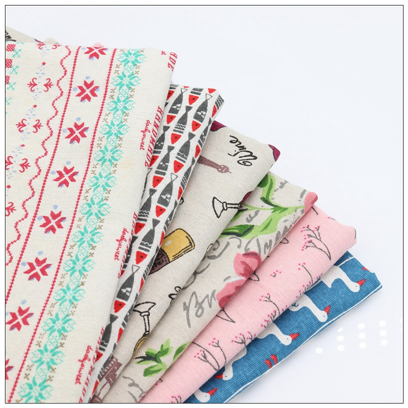 6 pieces of colorRose style cotton and linen material DIY patchwork crafts, coin purse, cloth mats / batch 40CM50CM