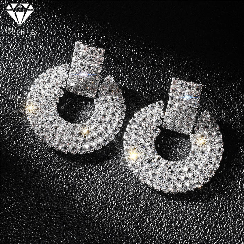 WIN-B Stud-Earrings Rhinestone Geometric Women Jewelry Handmade Party Wedding Fashion