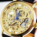 See Through Gold Tone Mechanical Men's Leather Watch freeship cool