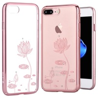 DEVIA Cover For IPhone 7 Plus 5 5 Inch Shell Crystal Decor Pattern Plated PC Back