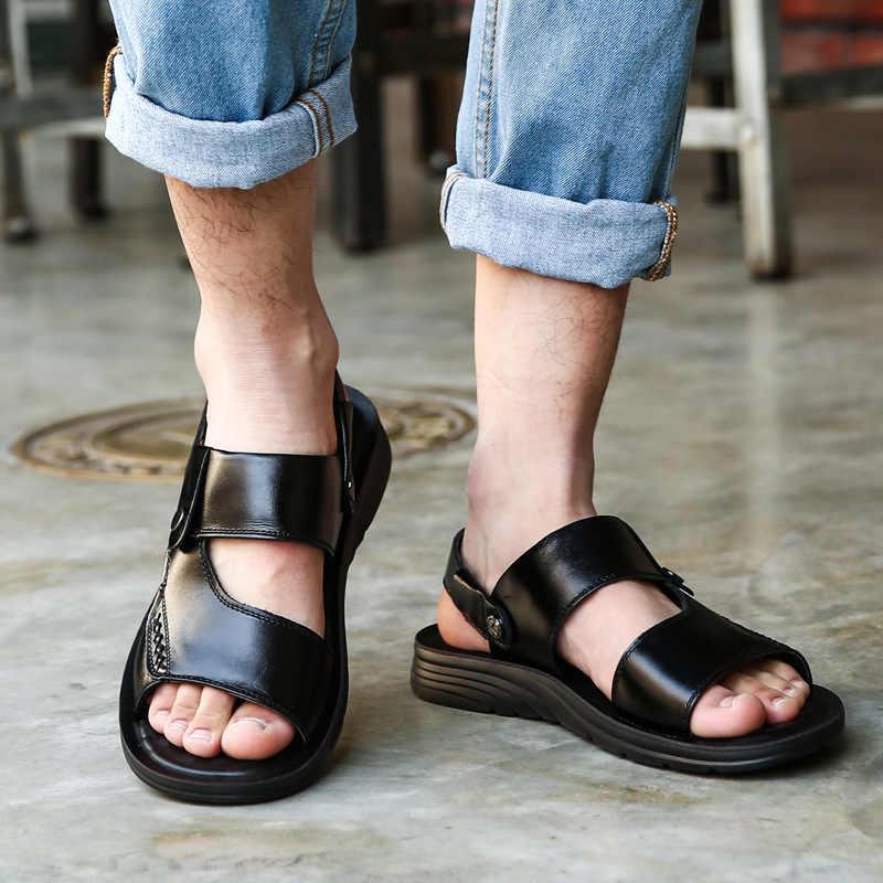 Sandalias de hombre sandalias de cuero genuino dividido zapatos de hombre Zapatos casuales de marca para hombre zapatillas de hombre sandalias de playa de verano chanclas cómodas