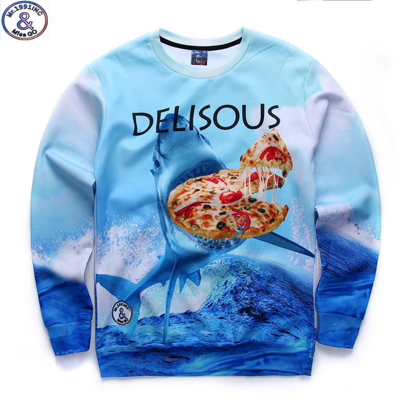 newest youth fashion brand funny 3D Jaws pizza printed hoodies boys teens Spring Autumn thin sweatshirts big kids sportwear W13