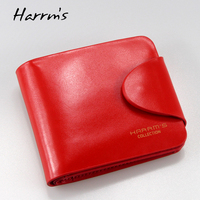 Harrm's Brand Classical Fashion genuine leather women wallets short red blue Color female lady Purse for women with coin pocket