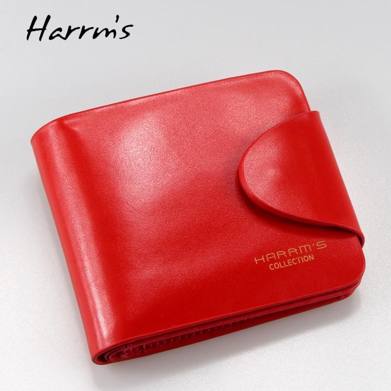 Harrm's Marka Klasik Moda hakiki deri kadın cüzdan kısa kırmızı - Cüzdanlar - Fotoğraf 1