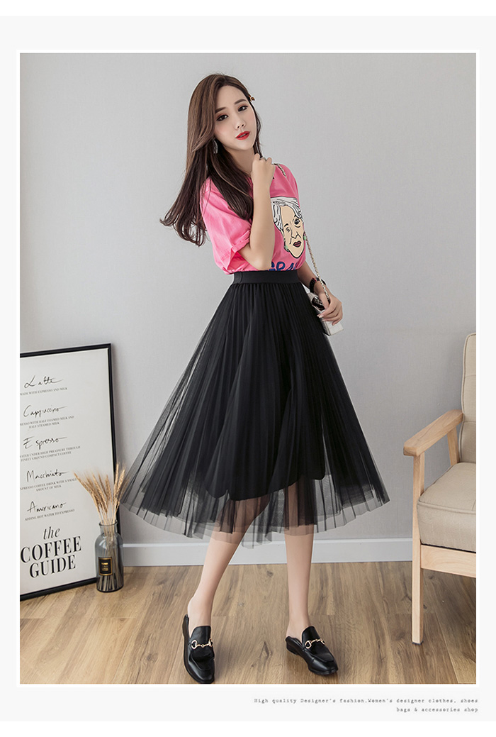 HTB13j6RLq6qK1RjSZFmq6x0PFXaj - Tulle Skirts Womens Midi Pleated Skirt Black Pink Tulle Skirt Women Spring Summer Korean Elastic High Waist Mesh Tutu Skirt