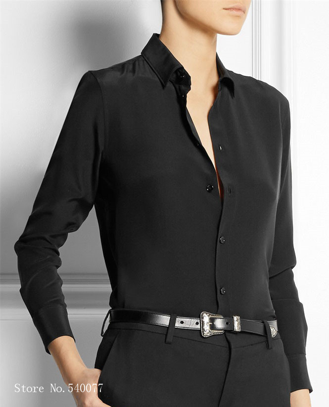 zwarte satijnen dames blouse