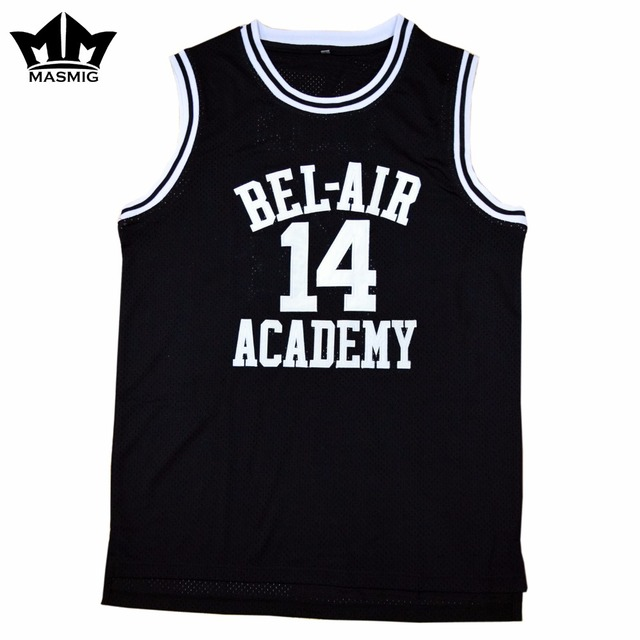MM MASMIG The Fresh Prince of Bel-Air Will Smith 14 Bel-Air Academy  Basketball Jersey Black 76eb2645d