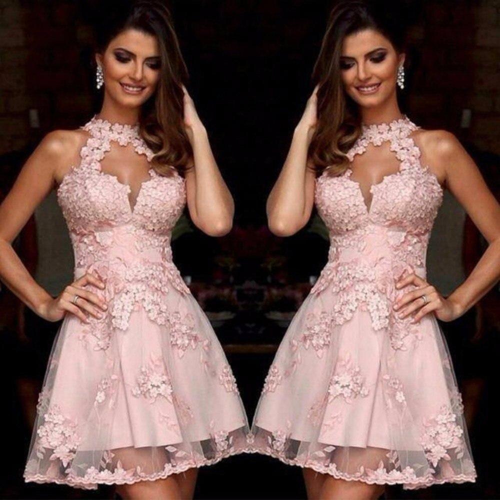Famoso Vestido De Fiesta Corto Halter Fotos - Colección de Vestidos ...
