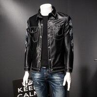 Jaqueta Masculina Couro Dragon Print Pu Leather Coat Men Slim Fit Button Down Jacket Faux Leather Men Jaqueta Motoqueiro 5xl