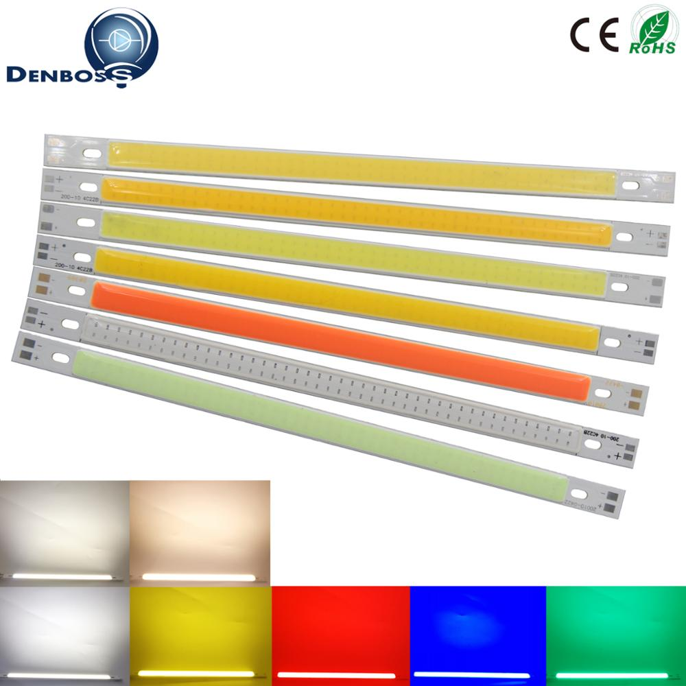LED COB 200mm 10mm 12v Cob Led Strip Light Bulb Source 10W Warm Nature White Blue Red Green Yellow FLIP Chip For Auto Light DIY