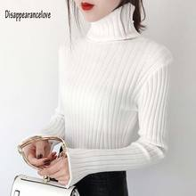 Women's Fashion White Black Grey Ribbed Cashmere Sweater Women Long Sleeve Autumn Winter Warm Turtleneck Pullover Knitted Jumper turtleneck ribbed jumper sweater