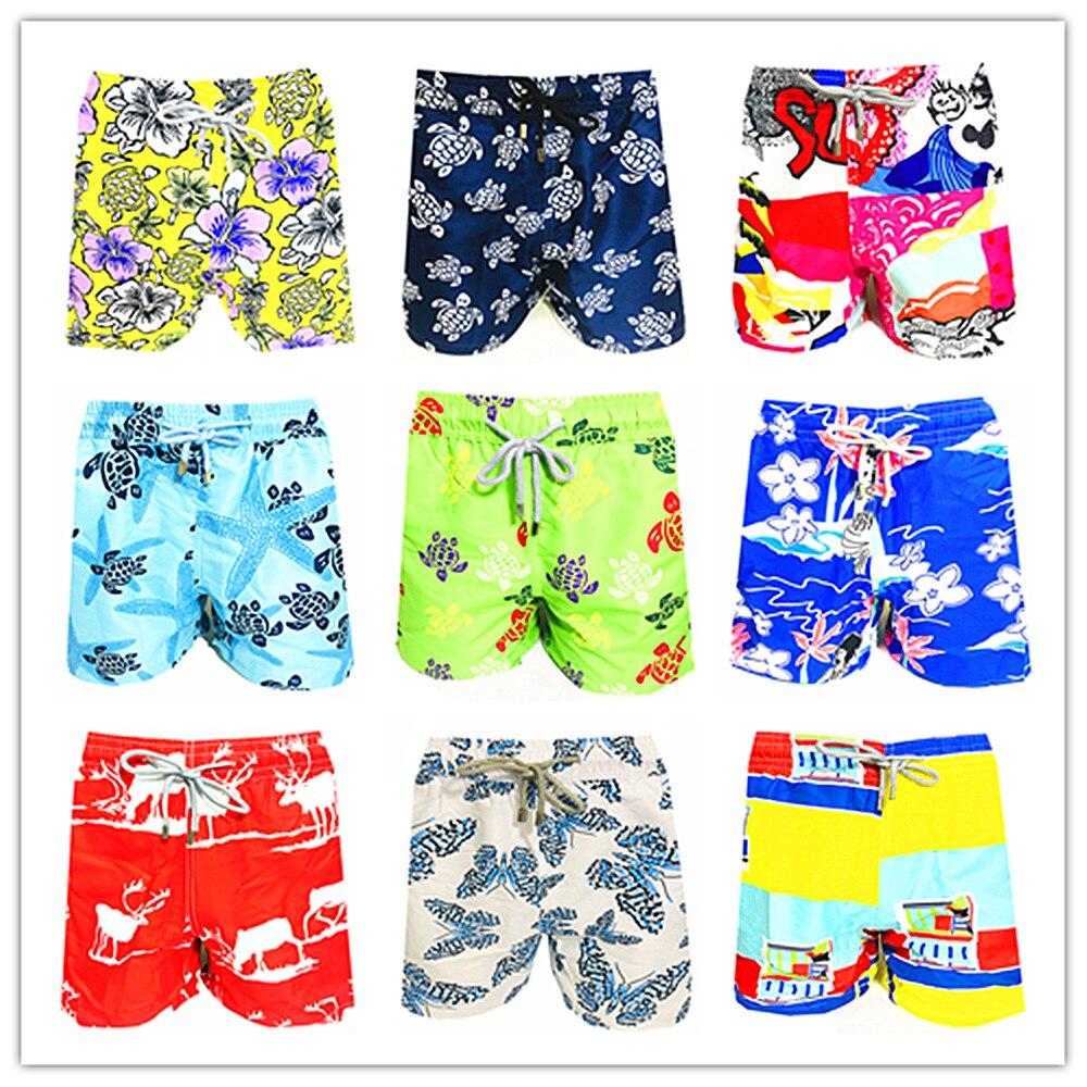 2019 Brand BREVILE PULLQUIN   Board     Shorts   Men Bermuda Vilebre Turtle Printing Man Boardshort 100% Quick Dry Men's Swimwear M-XXXL