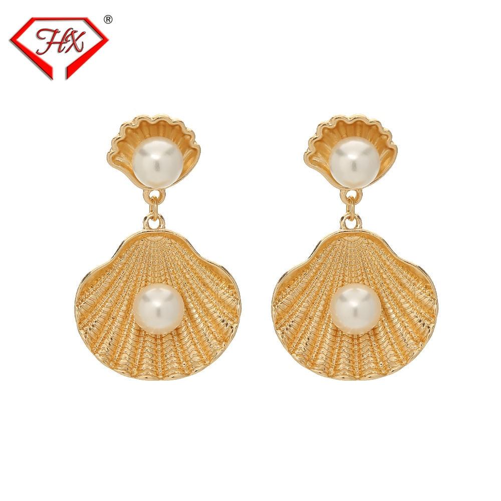 HX 2019 Della Perla di Modo Borsette Orecchini Donna Ocean Serie Ciondolo in oro temperamento серьги Orecchini gioielli orecchini