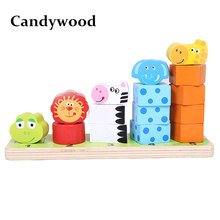 Candywood High quality Children Cartoon Animal Stacking Blocks Early learning Educational wooden toys for kids Stack height toy