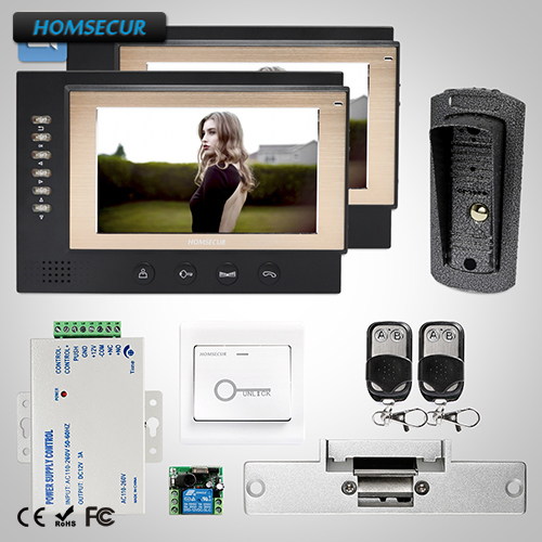 HOMSECUR 7 Wired Hands-free Video&Audio Home Intercom Electric Lock Supported : TC041 Camera + TM701R-B Monitor (Black)